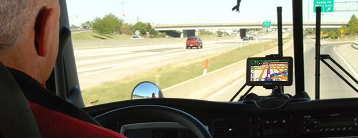 truck driving with gps